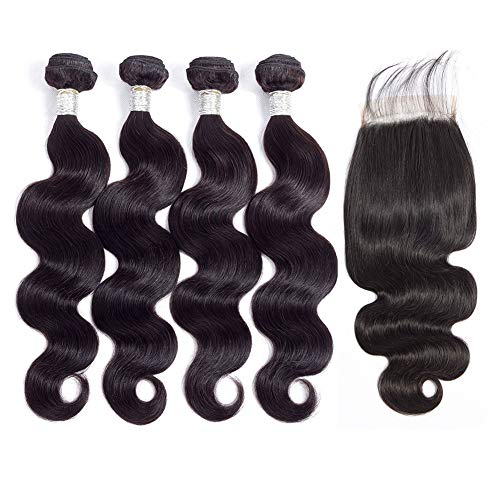 8A Brazilian Body Wave Hair 4 Bundles with Closure (18 20 22 24+16inch) 100% Unprocessed Virgin Human Hair Weave Brazilian Body Wave Bundles with Closure Natural Color