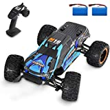 Fcoreey Remote Control Car, 1:16 High Speed 40 Km/h RC Car, 2.4 GHZ All Terrain Off Road Monster Truck with 2 Rechargeable Batteries, Racing Vehicle with LEDs, Gift Toys for Kids, Adults, Boys Girls