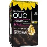 Garnier Tinta Capelli Olia, Colorazione Permanente senza Ammoniaca per una Fragranza Delicata, Copre il 100% dei Capelli Bianchi, Castano Scuro, Confezione da 1