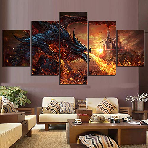 JQQBL Canvas Picture 5 Pieces Fantasy Art Paintings Poster World of Warcraft Game Poster Pictures S Wall Art for Home Decor Framed -B