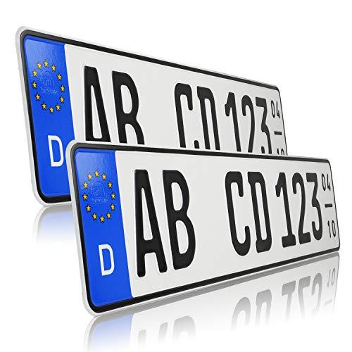 TEILE-24.EU Malinowski 2 x Kfz Kennzeichen Saisonkennzeichen Saison Autoschilder Autokennzeichen mit individueller Prägung nach Ihren Vorgaben + KFZ Schein Schutzhülle