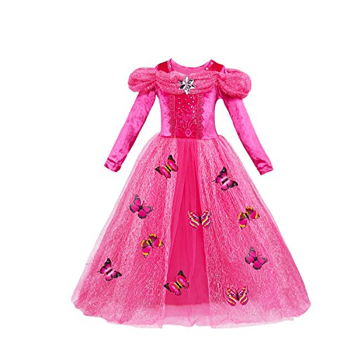 Lee Little Angel Festival Chica Cenicienta de Manga Larga Princesa Cosplay fantasía Vestido de Mariposa
