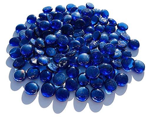 CRYSTAL KING Mezcla de piedras de cristal azul oscuro, 2 cm, 500 g, bolas decorativas, planas, decoración de mesa, jarrones, relleno, piedras de cristal, multicolor