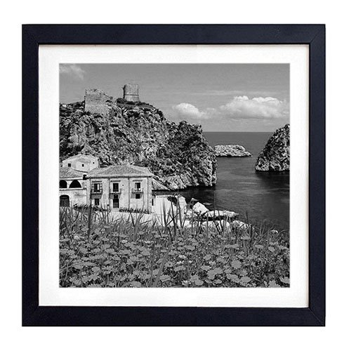 """GLITZFAS Sicily Coast, Italy - Art Print Black Wood Framed Wall Art Picture for Home Decoration - Black and White 14""""x14"""" (35cmx35cm) - Framed"""