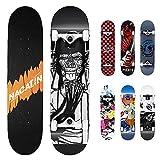 Nacatin - Skateboard per Bambini, Ragazzi e Adulti, con Cuscinetti a Sfera ABEC-9, 92 A, antiscivolo, liscio e silenzioso, per principianti, Nero