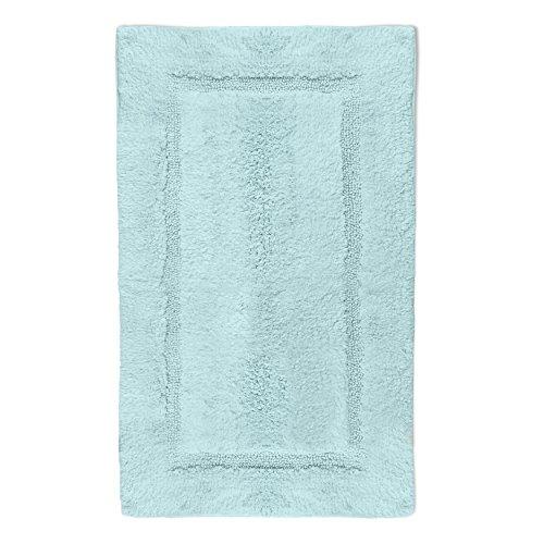 QltyFrst Bath Mat Non-Skid Cotton 1900 GSM Size 21'x34' Bathroom Rugs Luxurious Area Rug Extra Plush Absorbent Blue
