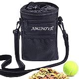 AMZNOVA Futterbeutel Hunde, Futtertasche für Hundetraining, Hunde Leckerlie Beutel mit Mehreren Taschen, 4 Tragearten, Schwarz