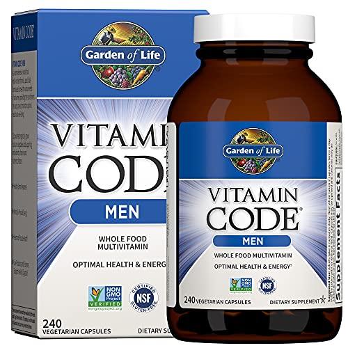 Garden of Life Vitamin Code Whole Food Multivitamin for Men - 240 Capsules, Vitamins for Men, Fruit and Veggie Blend and Probiotics for Energy, Heart, Prostate Health, Vegetarian Mens Multivitamins