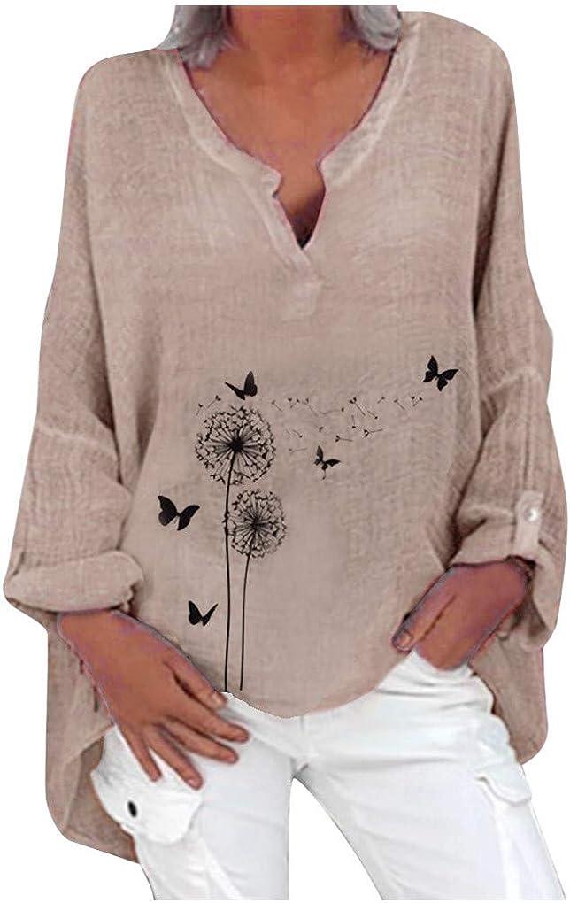 Dorical Leinenbluse für Damen,Langarm Drucken Oberteil Casual V-Ausschnitt Tops Tunika T-Shirt Lose Baumwolle Große Größen Leinenhemd Bluse Jacquard Oberseiten 10 Rosa