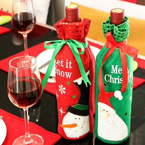 HNHT 2 Pieces Christmas Wine Bottle Gift Bags Xmas Bags Santa Claus Snowman Reindeer Red Wine Bottle Covers Bags Drawstring Xmas Gift Bags Pouch Gift Wrap for Christmas Party Festival Dinner Party