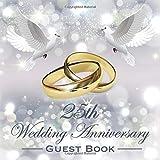 25th Wedding Anniversary Guest Book: Beautiful Sparkling Silver Wedding Anniversary Guestbook Photo Album Memory Keepsake Gift Scrapbook