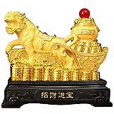 BEYOHIR Estatua De Tigre del Zodiaco Chino De Resina Dorada Feng Shui Decoración De La Oficina En Casa Colección De Regalos para La Buena Suerte para El Año Nuevo del Tigre Chino 2022