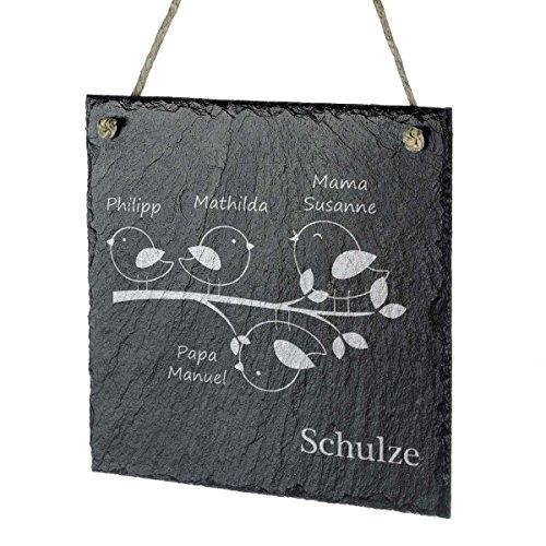 polar-effekt Aufhängeschild Schiefertafel Personalisiert mit Gravur - Türschild Namensschild 20x20cm - Geschenkidee für Ehepaare und Familien zum Einzug - Motiv Vogelfamilie