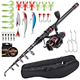 Lixada Fishing Rod and Reel Combo with Carbon Fiber Telescopic Fishing Rod, Spinning Reel, Carrier Bag Case...