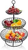 Bekith Frutero de 3 Pisos Vintage Cesta de Frutas Desmontable Niveles de Metal para Verduras y Frutas Frescas