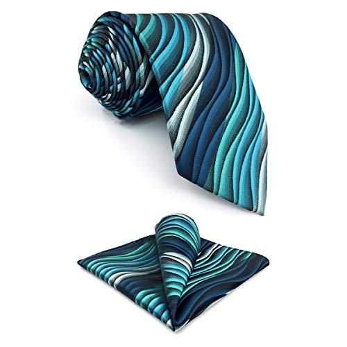 Shlax&Wing Herren Krawatte Ripple Blau MulticoloRot Seide Grün Seide