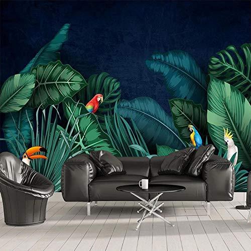 Aangepaste 3D behang Zuidoost-Aziatische tropisch regenwoud bananenblad papegaai foto muurschildering woonkamer slaapkamer waterdicht behang-250x175 cm (98,4 bij 68,9 inch)
