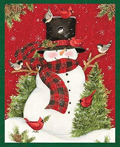 Veedaf 36' Fabric Panel - Springs Country Christmas Snowman Panel Susan Winget CP64464
