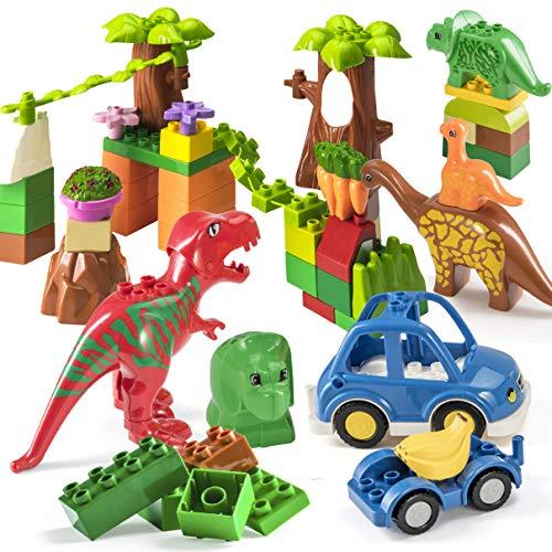 Prextex 48-teiliges Dinosaurierparadies Bausteinset, Dinosaurierbaustein-Set zum STEM-Lernen, kompatibel mit Allen großen Marken, Dinosaurierspielzeug