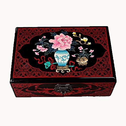 WNN URG - Joyero de madera retro vintage con espejo chino tradicional pintado a mano, caja de tesoro, organizador de joyas, caja de almacenamiento de recuerdos, joyería decorativa Bo