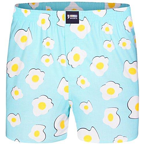 Happy Shorts Boxershorts Herren/Web-Boxer mit Jersey-Innenslip; Modell: Eggs (XL)