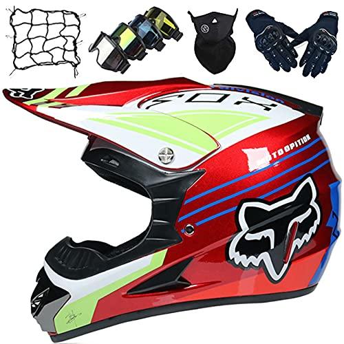 Casco Moto, Casco Motocross para Niños con Diseño Fox, Cascos de Moto Integrales para Hombres y Mujeres, Casco Todoterreno Dirt Quad Bike BMX ATV MX Mountain Bike DH Crash Helmet
