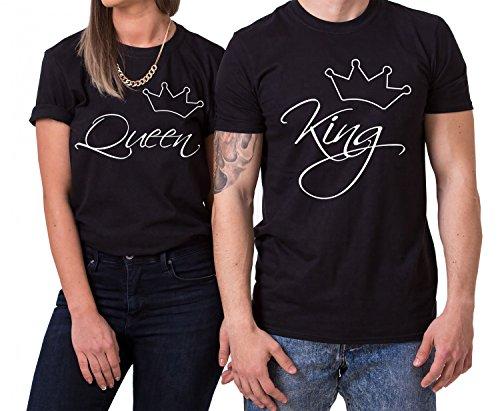 Line King Queen Partnerlook Camiseta de los Pares Dulce para Parejas como Regalos, Größe2:XL;Partner Shirts:Herren T-Shirt Schwarz