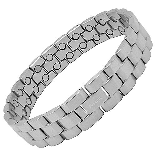 MagnetRX Powerful Magnetic Therapy Bracelet | Arthritis Pain Relief & Carpal Tunnel Relief Magnetic Bracelets for Men | Adjustable Size with Gift Box (Matte Silver)