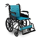 YDYBY Silla de Ruedas Plegable de tránsito, para Ancianos y minuválidos ortopédica de Aluminio Freno en manetas reposapiés Ultraligera Silla de Ruedas autopropulsada,Azul