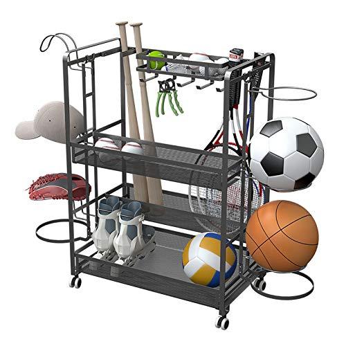 ZLI Estante de Pelota Organizador Multifunción de Equipamiento Deportivo, con Ruedas, Estante de Baloncesto de Garaje para Almacenamiento de Raquetas/Pelotas de Tenis/Bastones de Hockey