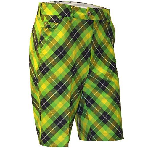 Royal & Awesome Men's Plus Size Golf Shorts, Plaid Electric, 38