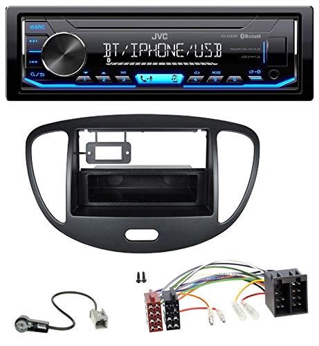 caraudio24 JVC KD-X351BT AUX USB Bluetooth MP3 Autoradio für Hyundai i10 (2008-2013) schwarz