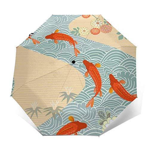 A Prueba de Viento Travel Auto 3 Folds Umbrella Japan Carp Red Fish Goldfish Chinese Waves Folding Lightweight Portable Parasol Umbrella for Women Men