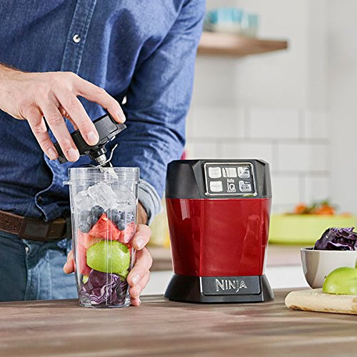 Ninja BL480UKMR Nutri 1000W Blender with Auto-iQ-BL480UKMR-Red, 18/10 Steel, Red