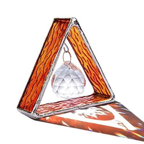 H&D HYALINE & DORA - Pirámide hecha a mano en vidrieras, vidrieras teñidas, adorno para colgar el sol, prisma de bola de cristal en...