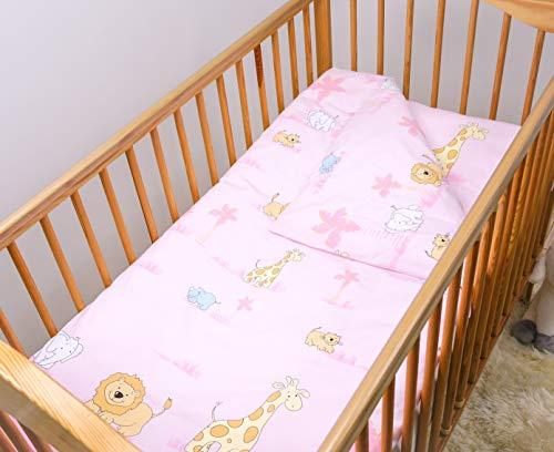 4 Piece Toddler Kids Cot Bed Set 120x90 cm Duvet Pillow Duvet Cover Pillowcase