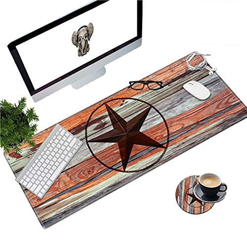 Large Gaming Mouse Pad with Stitched Edges, Desk Pad Protector, Computer Keyboard Mouse Mat Non-Slip Cute Desk Decor for Home/Office/Study Accessories+ Coaster and Stickers, Pentagram