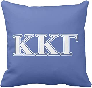Kappa Kappa Gamma White and Royal Blue Letters Throw Pillow Case Cushion Cover 18