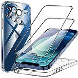 KKM Funda Compatible con iPhone 12, 2 Pack HD Cristal Protector de Pantalla y 2 Vidrio Templado Protector de Lente de cámara, Carcasa Suave TPU Silicona Cover - Clara