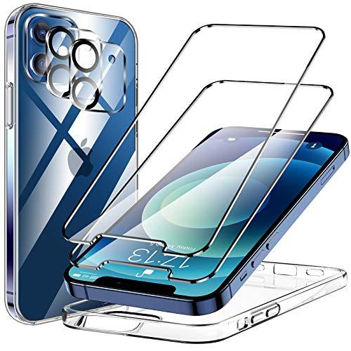 KKM Cover Compatibile con iPhone 12,[4 Pezzi] 2 Pellicola Protettiva in Vetro Temperato e 2...