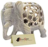 CraftnGifts Impossible Stone Art – 5 Inch Handmade Soapstone Collectible Figurine Sculpture of Mother Elephant with Baby Inside - Unique Decorations - Handcrafted Statue Sculpture from India.