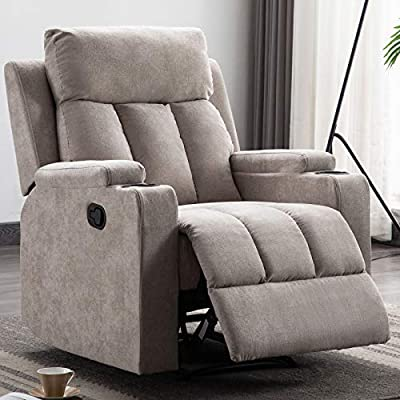 ANJ Fabric Recliner Chair with 2 Cup Holders Contemporary Theater Seating Padded Single Sofa for Living Room