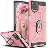 YmhxcY Compatible for Samsung Galaxy A12 5G Case with HD Screen Protector,360 Degree Rotating Ring Kickstand Holder Dual Layers of Shockproof Phone Case for Samsung A12 6.5'-ZS Rose Gold