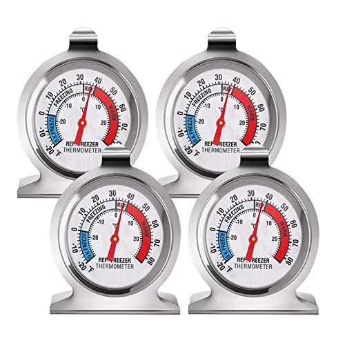 fanshiontide 4 Piezas Termómetro para Frigorífico Acero Inoxidable Termometro Frigorifico Termómetro para Congelador para Empresas Hospitalarias Familiares con Gancho para Colgar(-30 a 30 °C)