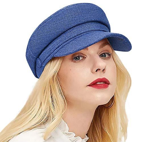 ColorSun Women's Newsboy Caps Newsboy Hats for Women Cabbie Fiddler Octagonal Paperboy Hat Blue