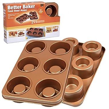 The Original Better Baker Edible Food Bowl Maker- Bake 6 Three Inch Dessert & Dinner Bowls or Mini Muffins