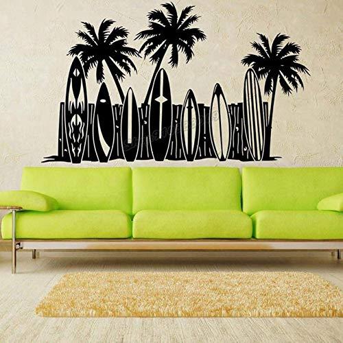 Vinilo adhesivo para pared de cacao palma, jinete de surf océano deslizante, escuela de agua, tabla de surf para decoración de habitación vinilo calcomanía 94 x 57 cm