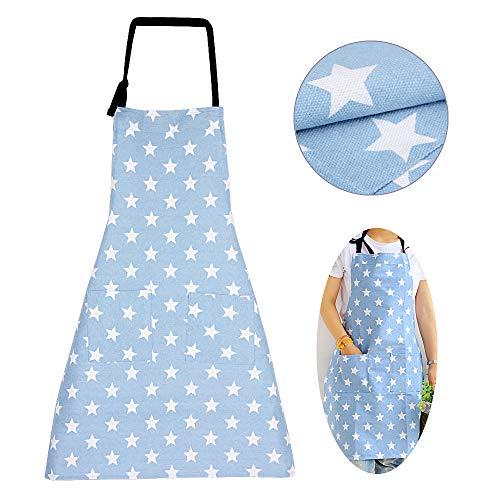 MEJOSER Sterne Schürze mit Tasche Verstellbare Kochschürze Küchenschürze Latzschürze Grill Bakcen Damen Schürze für Frauen Kochen Arbeit Hausarbeit (Hellblau)