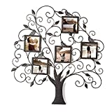 Adeco PF0588 Brown Decorative Style Collage Iron Metal Wall Family Tree Scroll Haning Picture Photo Frame, 5 Opening, 4x4 Each, Black with Antique Finish