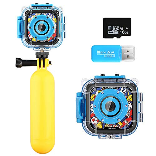 Kids Camera iMoway Waterproof Video Cameras for Kids HD 1080P Kids Digital Cameras Camcorder with 16GB Memory Card Card Reader and Floating Hand Grip Blue